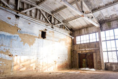 Abandoned empty room in an old factory Royalty Free Stock Images