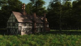 Abandoned English Manor House. Deserted Half-timbered traditional English late medieval or Tudor manor house, 3d digitally rendered illustration Royalty Free Stock Photo