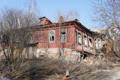 Abandoned and evicted house in the provincial town of Zaraysk Royalty Free Stock Images