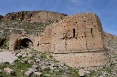 Abandoned fördärvade den kristna kyrkan i Cappadocia, Turkiet, Europa Royaltyfri Foto