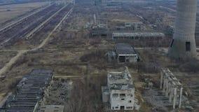 Abandoned fördärvade industriell fabriksbyggnad, arkivfilmer