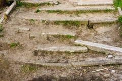 Abandoned fördärvade moment av en konkret trappuppgång Arkivfoton