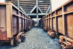 Abandoned facilities freight cars Royalty Free Stock Images