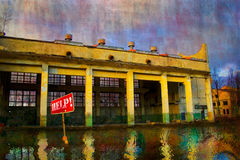 Abandoned factory. Abandoned old factory and reflection in water Stock Photo