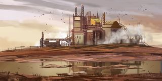 Abandoned Factory. Abandoned Mine Pit. Fiction Backdrop. Concept Art. Realistic Illustration. Video Game Digital CG Artwork. Nature Scenery stock illustration
