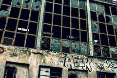 Abandoned Factory - Broken Windows Royalty Free Stock Image