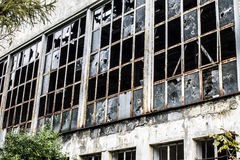 Abandoned Factory - Broken Windows Royalty Free Stock Photos