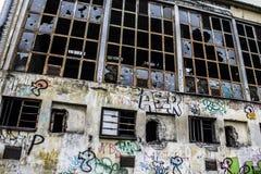 Abandoned Factory - Broken Windows Stock Images