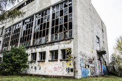Abandoned Factory - Broken Windows Royalty Free Stock Photos