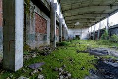Abandoned factory covered in green moss. Abandoned warehouse with moss on the floor Stock Photo