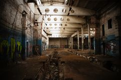 Abandoned factory. Ghetto Moscow style Royalty Free Stock Photos