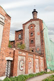 Abandoned factory with graffiti on wa, arkhangelsk Royalty Free Stock Images