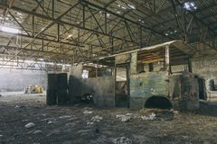 Free Abandoned Factory Hangar, Where Games Are Held In Paintball Stock Photo - 124500070