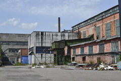 Abandoned factory. Industrial buildings of the Soviet period. Russia.  Royalty Free Stock Photo