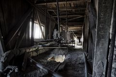 Abandoned factory. Old dusty band conveyer in old corridor of reinforced concrete plant.  royalty free stock photo