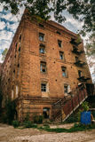 Abandoned factory of red brick - former steam mill of Boberman, Samara, Russia Stock Photography
