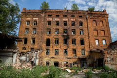 Abandoned factory of red brick - former steam mill of Boberman, Samara, Russia Royalty Free Stock Photos