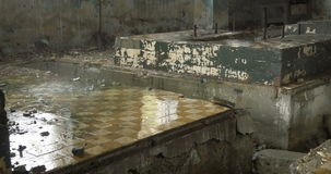Abandoned factory ruins in raining day stock footage