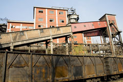 Abandoned factory and train Royalty Free Stock Photo