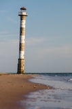 Abandoned falling lighthouse on the beach of Saaremaa island Royalty Free Stock Image