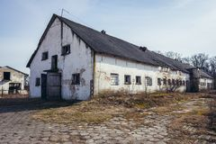 Abandoned farm in Poland. Old desolate PGR - form of polish collective farm in Gora, small village in Mazovia Province near Legionowo town, Poland royalty free stock images