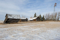 Abandoned farm in winter Stock Photos