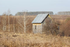 Abandoned farmhouse in field. Abandoned farmhouse in a field on a background of forest Royalty Free Stock Image