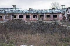 Abandoned farmhouse near castle ruins Royalty Free Stock Photography