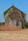 Abandoned Farmhouse Overgrown With Vines Sits In Georgia Field Stock Photos