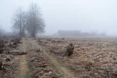Abandoned farmhouse and the road in the morning mist. Royalty Free Stock Images