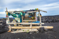 Abandoned fishermans hut at the beach Stock Image