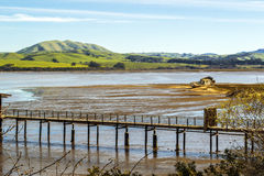 Abandoned Fishing Boat in Northern California. View of an old, abandoned fishing boat off the coast of the small town of Inverness on Tomales Bay in Northern Stock Images