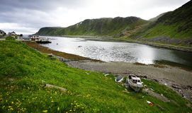 Abandoned fishing boat. On the Norweigan fjord Royalty Free Stock Photos