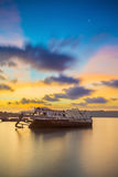 Abandoned fishing boat at sunset, Thailand. Royalty Free Stock Images