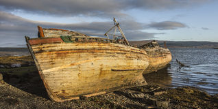 Abandoned Fishing boat wrecks at Salen on the Isle of Mull. Abandoned Fishing boat wrecks at Salen on the Isle of Mull in Scotland Royalty Free Stock Images