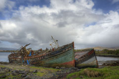 Abandoned fishing Boats. The painterly, poignant decay of abandoned fishing boats near Salen and Aros, Isle of Mull, Argyll and Bute, Scotland Royalty Free Stock Photography