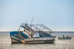 Old fishing vessels in Houmt Souk, island Jerba, Tunisia royalty free stock image