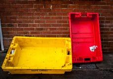 Abandoned fishing boxes Royalty Free Stock Photography