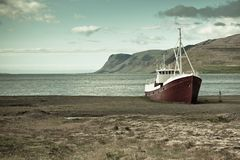 Abandoned fishing ship in Iceland Royalty Free Stock Photo