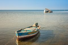 Old fishing boats. Houmt Souk, island Jerba, Tunisia royalty free stock photo