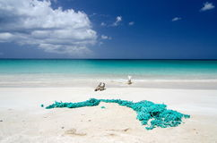 Abandoned fishnet at Ffryes beach - 2 Royalty Free Stock Photo