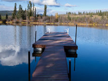Abandoned floating dock for swimming in lake Royalty Free Stock Images