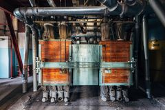 Abandoned flour milling factory. Old rusty grain cleaning air separation machine.  royalty free stock images