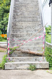 Abandoned Flyover stairs with log and plastic lines. Stock Photo