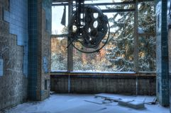 Abandoned fungeringsteater i Beelitz Arkivbilder