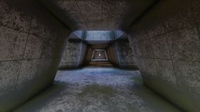 Abandoned fururistic tunnel. 3D rendering stock illustration