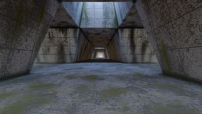 Abandoned futuristic tunnel. 3D rendering vector illustration