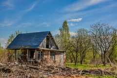 Abandoned garden plots in the spring. Collapsed wooden buildings. Abandoned plots Stock Photos