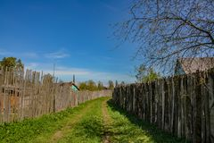 Abandoned garden plots in the spring. Collapsed wooden buildings. Abandoned plots Stock Photo