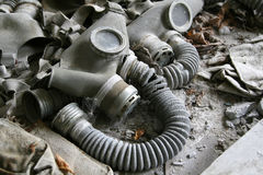 Abandoned gas masks stock photo